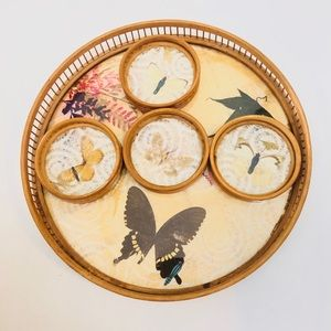 Vintage Wooden Butterfly Tray & Coaster set